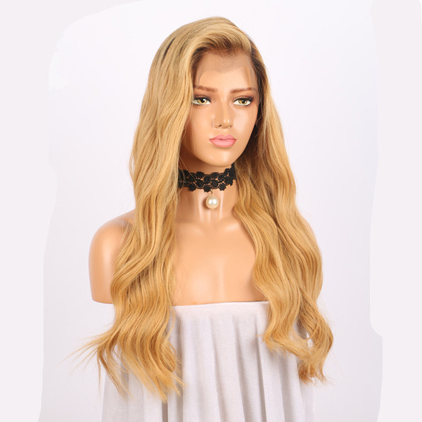 8A Pre Plucked Lace Front Wig Ombre #1B/27 Honey Blonde Body Wave Brazilian Virgin Human Hair Glueless Lace Wig for Black Woman
