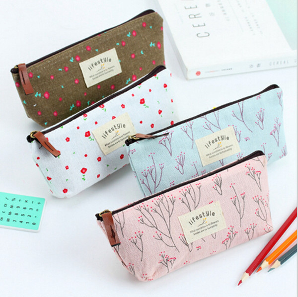top popular Countryside Flower Floral Pencil Pen Case Cosmetic Makeup Bag Cute Small Cosmetic Purse Wash Bags 4 Colors 2021
