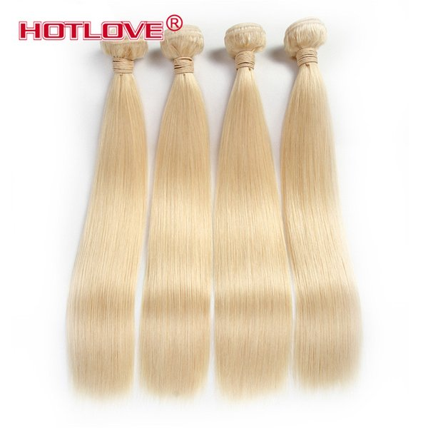 HOTLOVE Hair Company Brazilian Virgin Straight Human Hair Extensions 12 To 24 Inch 4 Pieces / Lot Remy Hair Weaving 613 Blonde Bundles