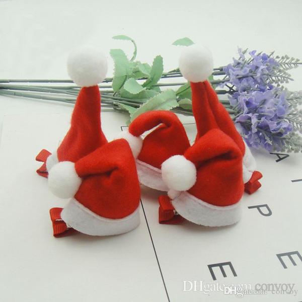 Baby hair clips christmas girls kids cute hair barrette for Christmas Handmade xmas hair clipper christmas hat shape KFG39