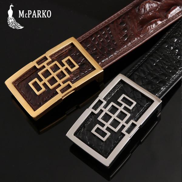 Genuine Crocodile Skin Leather Belt Men Luxury Stainless Steel Buckle Jeans Belt 3.8cm Black Brown Durable Crocodile