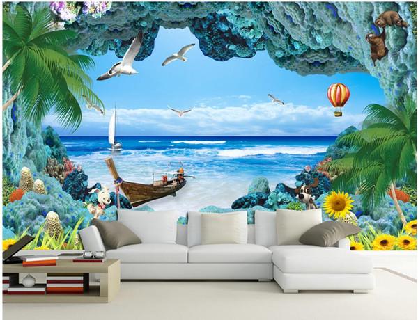 paredes de la sala de coral Compre 3d Fondo De Pantalla Personalizado Foto Mural Arrecife De Coral Paisaje Marino Pared De Fondo Decoracin Del Hogar 3d Murales De Pared Papel