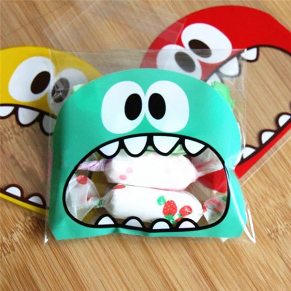 100Pcs Cute Cookie Candy Bag Cartoon Monster Self-Adhesive Plastic Packing Bag For Party Wedding Biscuits Baking Package Supplies
