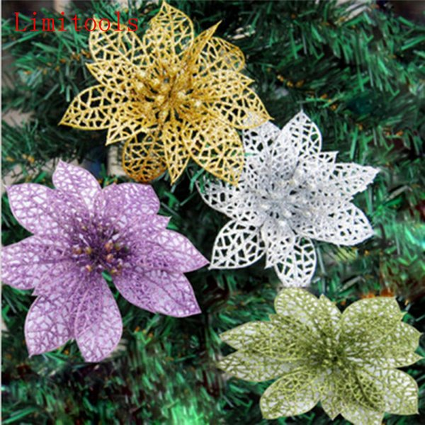 1pc Colourful Glitter Artificial Hollow Flowers Wedding Party Christmas Xmas Tree Home Valentine's Day New Year Decorations