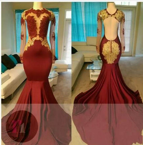 2018 New Sexy Jewel Neck Backless Prom Dresses Trumpet Plus Size Gold Lace Pattern Unique Design Charming Evening Dresses Gowns