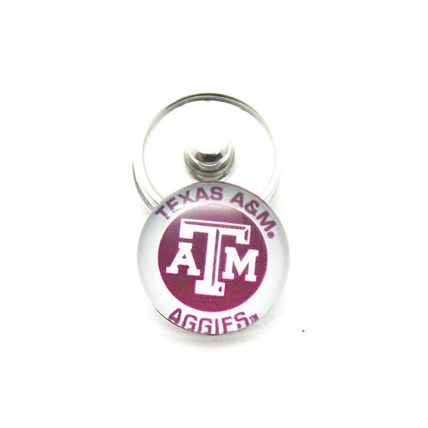 Atacado 20 pçs / lote NCAA New Texas AM Aggies Colégio Equipes Snap Botões DIY 18mm De Vidro De Esportes Gengibre Snap Jóias pingente pulseiras