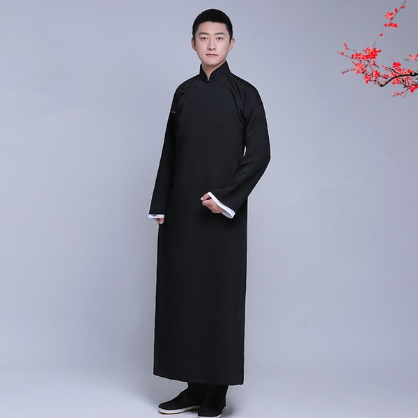 Nouvelle arrivée mâle cheongsam costume de style chinois coton Male Male veste longue robe traditionnelle chinoise Tang costume robe hommes
