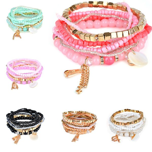 Tassel Multilayer Bracelet Cuffs Stone Bead Chains Fashion Jewelry for Women Kids Gift Drop Ship 320111