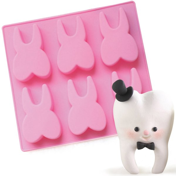 1Pc 6-hole Tooth Shaped Silicone Cake Mold 3D Teeth Chocolate Fondant Molds Jelly Pudding Mould Cake Decoration Tools