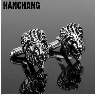 Manschettenknöpfe für Männer 3D Der König der Wälder Löwenkopf Manschettenknöpfe Schmuck Manschettenknöpfe Cool Manschettenknöpfe Stifte KrawattenklammerCufflink