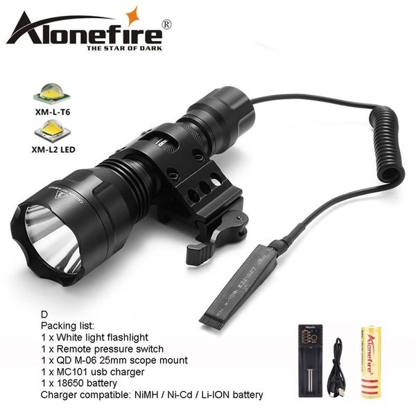 AloneFire C8s Tactical LED Flashlight 18650 Cree T6 Powerful Flash light Portable Torch light Lamp Bike Light Camp hunting for 1x 18650