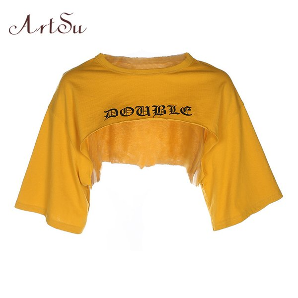 8be6983ce790cb Punk Rock Gothic Letter Print Short Crop Top Summer Casual Loose Yellow T-shirt  Tee Shirt Sexy Harajuku Bts ASTS20356