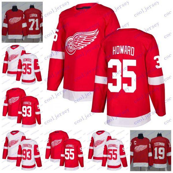Personalizado 2018 Detroit Red Wings 25 Mike Verde 55 Niklas Kronwall 93 Johan Franzen 35 Jimmy Howard Camisolas de Hóquei Branco Vermelho Costurado S-60