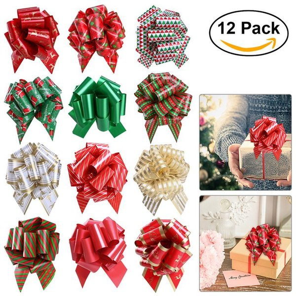 Bestoyard Christmas Gift Pull Bows With Ribbon Strings For Gift Wrapping Floral Decoration Weddings Party Decor 1st Birthday Party Theme 1st Birthday