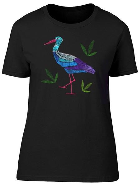 Nakış Leylek Ve Yapraklar kadın Tee-Image Shutterstock tarafından Moda Marka Kore Kawaii T-Shirt Femme