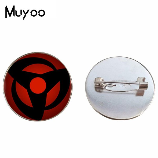 BR--4 New Style Naruto Brooches Sharingan Shippuuden Eyes Glass Brooch Silver Bronze Pin Round 20mm Pins Gifts Men Handmade
