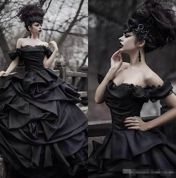 Off Shoulder Black Gothic Wedding Dresses 2019 Pick Up Satin Tiered Pleat Lace Victorian Bridal Gowns Plus Size Corset Back Custom Made