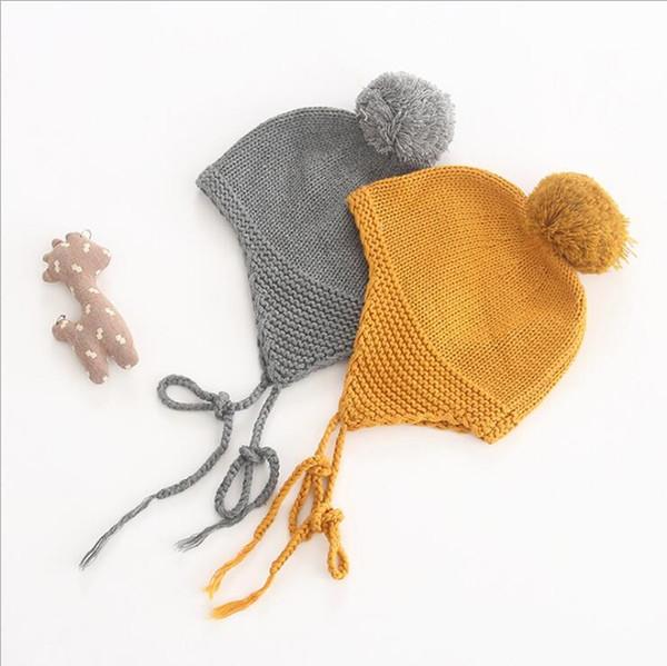Strickmützen INS neue Stile 2 Farben Herbst Winter Stile reine Farbe hochwertige Baumwolle Kinder Mädchen Jungen Winter outwear warme Haar Ball Hüte