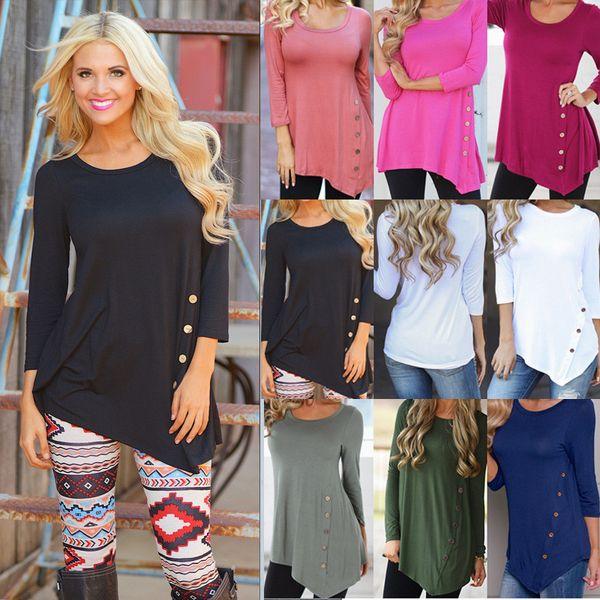 Große große Unregelmäßige Sweatshirt Langarm Frauen t Shirts 2018 Frühling beiläufige lose Shirts Bluse Rundhals Sweatshirts für Mädchen