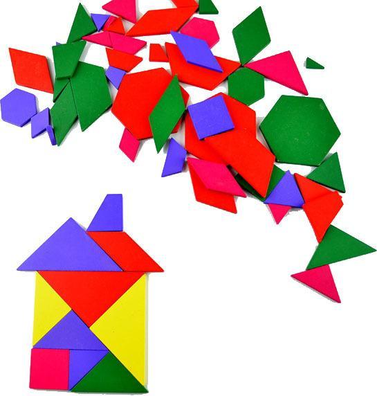 Ahşap Çok Şekiller Geometrik Tangram eğitici oyuncaklar çocuk Bulmaca Kurulu 57 adet Fabrika Maliyet Ucuz Toptan 2 takım Veya Daha