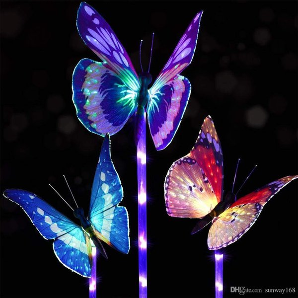 Solar Garden Stake Lights Solar Powered Multi-Color Changing Decorative Landscape Lighting Hummingbird Butterfly Dragonfly for Garden Patio
