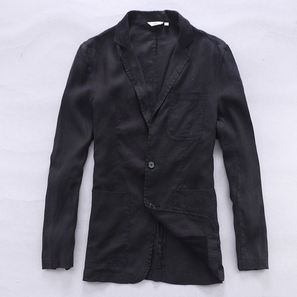 New arrival Italy linen suit men fashion business suits men pure flax brand clothing casual suit mens black blazer masculino