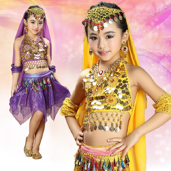 belly dresses dancer costume clothes with skirts top indian dress girls veil bellydance set bollywood dance costumes for kids