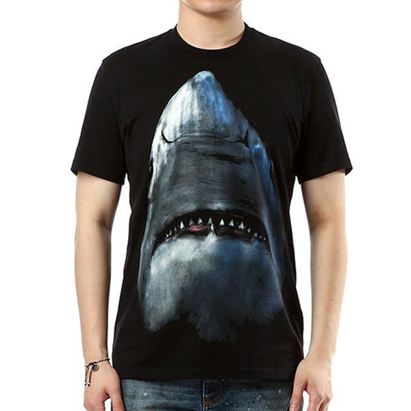 0a0a2cb5b0ce Hot Summer Mens Brand Shark Print Black T-shirt Men Designer Luxury 100%  Cotton High Quality Casual Short Sleeve T Shirts