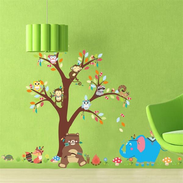 Kindergarten Hintergrund Wandaufkleber Affe Baum Kinderzimmer Wasserdichte Lösbare Tapeten Wohnkultur Wandbild Dekoration Kunst 6 5zy Ww