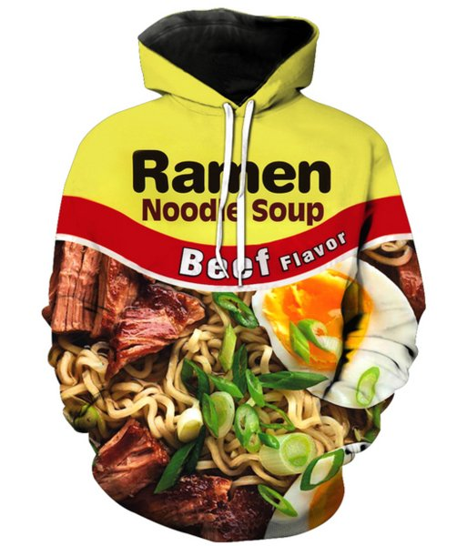 Newest Fashion Men/Women Noodle Color Food Funny 3D Printed Crewneck Sweatshirt Hoodies Fashion Casual Hoodies H61