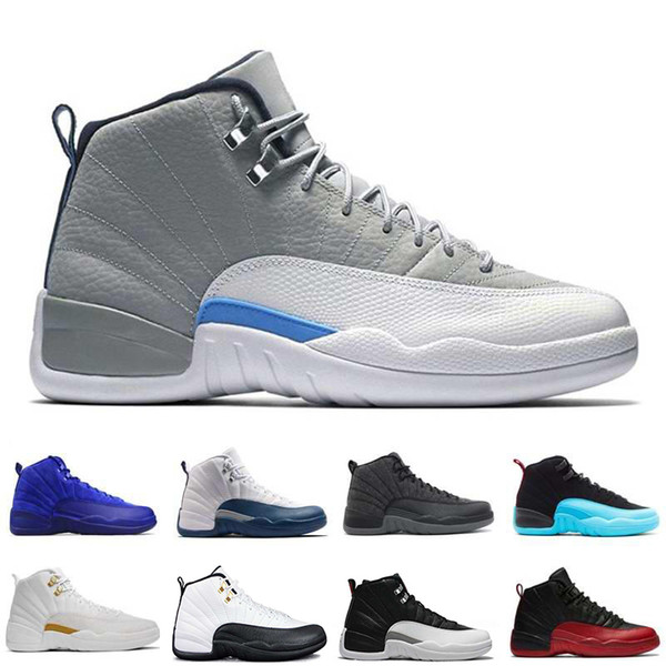 NEW 2018 Cheap 12 XII Mans Basketball Shoes Sneakers Women Taxi Playoffs Gamma Blue Grey Sports Running Shoes For men US 5.5-13