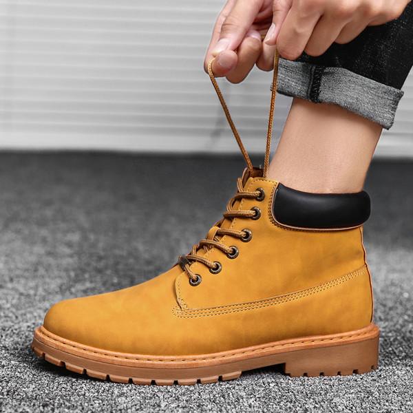 Moda Erkekler Martin botları Açık havada ayakkabı ile deri malzeme Düz tasarım botlarla bağcıklı (3 renk, beden: 39-44)