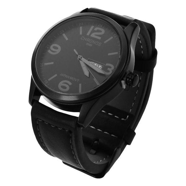 Luxury CHRONOS Watch Men Leather Casual Japanese Quartz Watch Waterproof Date Clock Men's