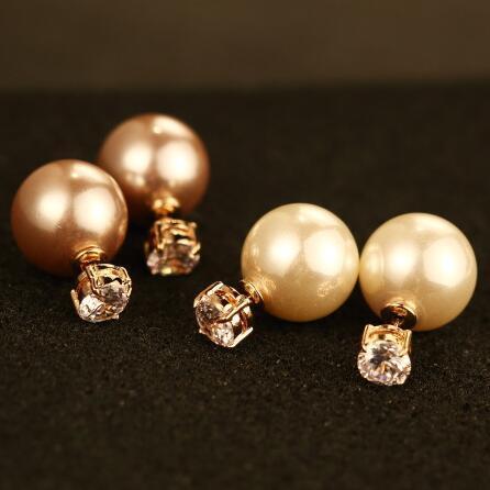 Double perle Zircon face tempérament dame boucles d'oreilles femmes bijoux de fête coréenne Vintage luxe boucles d'oreilles accessoires
