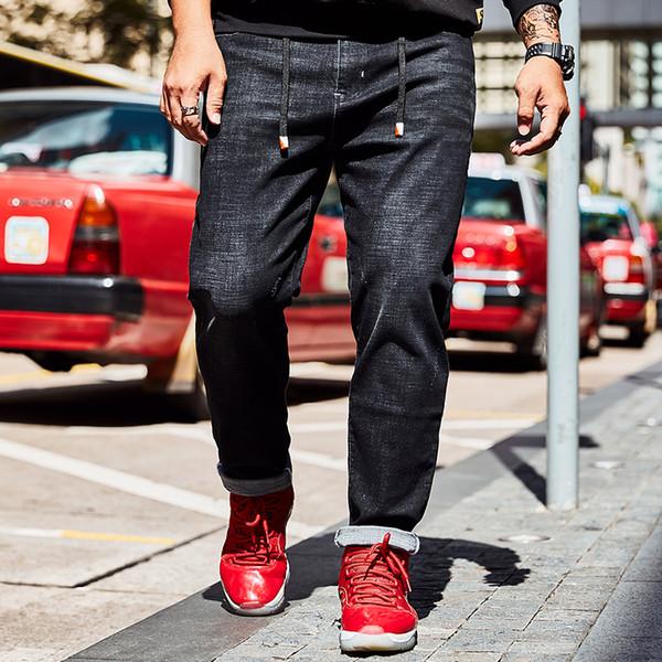 High Quality Famous Brand Denim Trousers Men Stretch Drawstring Pants Fashion Large Big Size 40 42 44 46 Men's Vaqueros Hombre