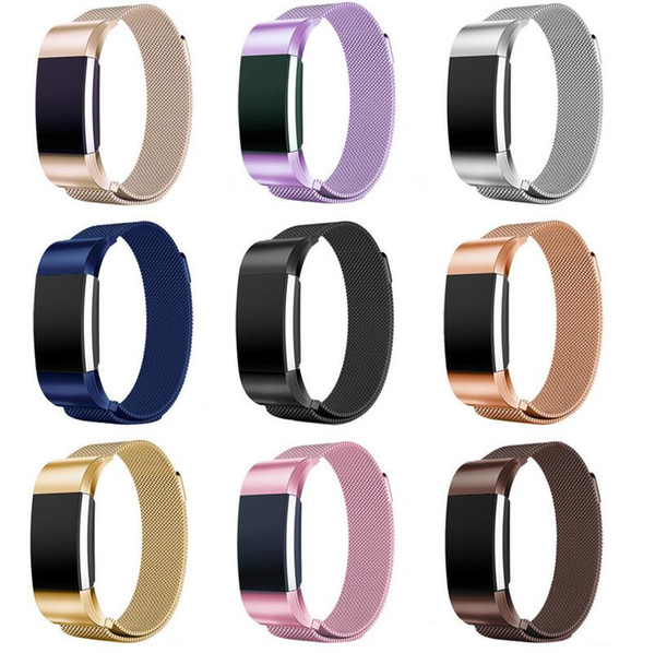 New 10 color for fitbit charge 2 band magnetic milane e loop tainle teel bracelet replacement band for fitbit charge2 trap