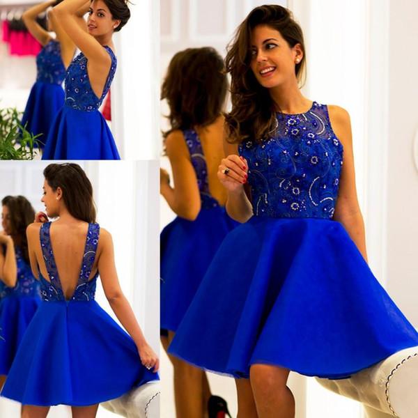 Королевские синие платья возвращения на родину 2018 года A-Line Сексуальная Спинка Аппликации Из Бисера Короткие Коктейльные Платья Пром Платье Атласная Прозрачная Шея Robe de soirée