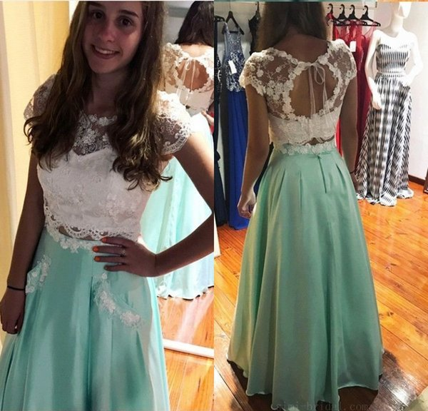 Fashion 2 Piece Long Prom Dresses White Mint Green Short Sleeve Evening Gowns Shrath Floor Length Formal Women Special Occasion Dresses 2018