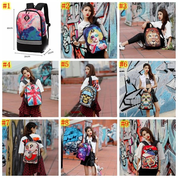 9 colors Fashion 3D Flower Printing Backpack for Girls Designer Teenage Floral Backpack Casual Children Bookbag Women Travel Backbag MMA516
