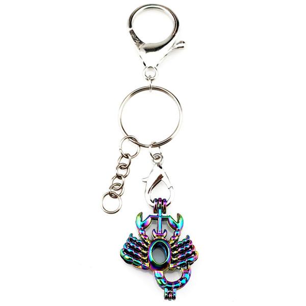 Banhado a prata Chaveiro Chaveiro Fecho Anel Com Arco-íris Cor Escorpião Pérola Beads Gaiola Medalhão Pingente de Presente Da Beleza Y182