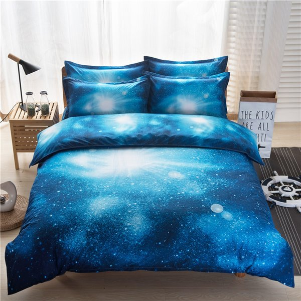 Hot Sale Hipster Galaxy 3D Bedding Set 2/3/4pcs Universe Outer Space Themed Duvet Cover &Bed Sheet & Pillow Case Twin Queen Size