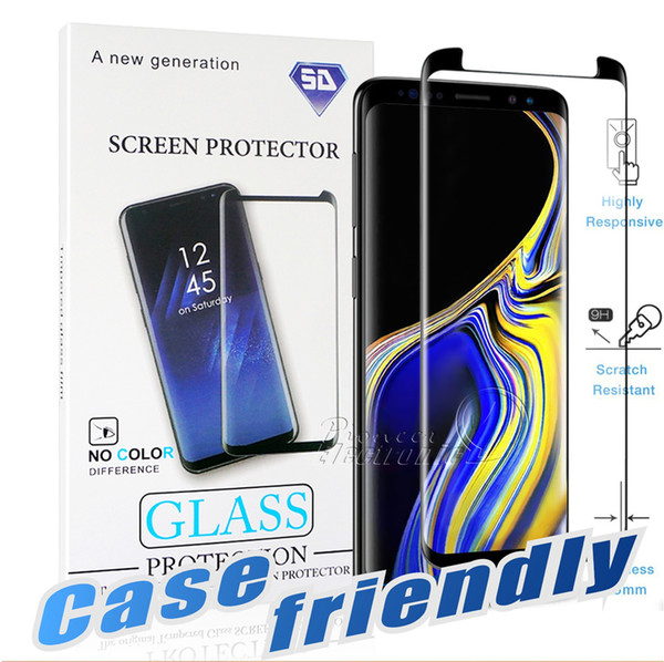 best selling Case Friendly For S10 5G Samsung Galaxy S10 S9 S8 Note 10 Plus Note 9 8 S7 S6 Edge 3D Curve Edge HD Clear Tempered Glass Screen Protector