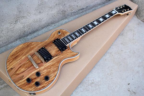 Vendas quentes corpo sólido guitarra elétrica loja Personalizada Les Mapa painel transparente marrom Paul Guitarra Elétrica 6 Cordas