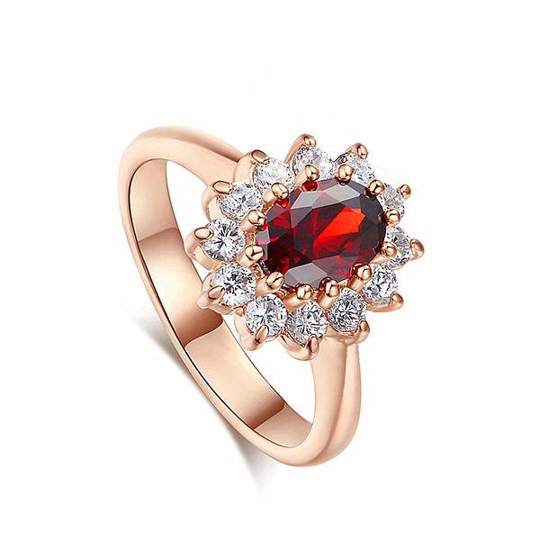Red Crystal Rose Gold Color