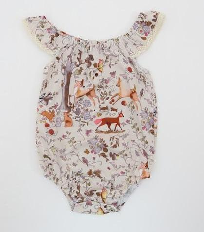 top popular Baby Girls Deer Cap Sleeves Rompers with Snap Summer Children Boutique Clothing Euro America 0-3T Infant Toddlers Girls Rompers 2019