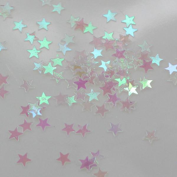 10 grammi Bulk Star Confetti 3 MM Laser Holographic Silver Stars Glitter Paillettes Confetti per forniture per feste di nozze Nail Art
