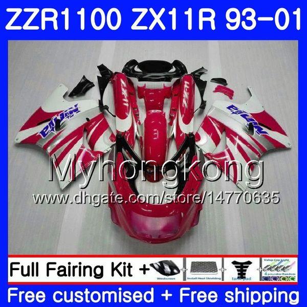 Body For KAWASAKI NINJA ZX 11R ZX11R 93 98 99 00 01 206HM.40 ZZR 1100 Red white HOT ZX11 R ZZR1100 ZX-11R 1993 1998 1999 2000 2001 Fairings