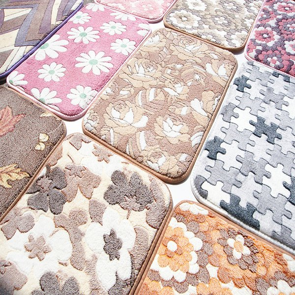 new coral velvet bedside fleece stone floor carpets thickened coffee leave anti slip bathroom mats home decoration