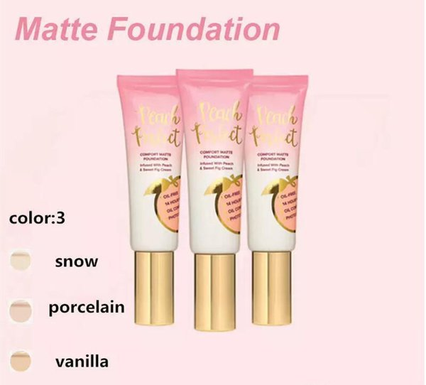 Hot makeup Foundation Peach perfect comfort matte foundation 3colors 48ml Face cream Foundation High quality DHL freeshipping