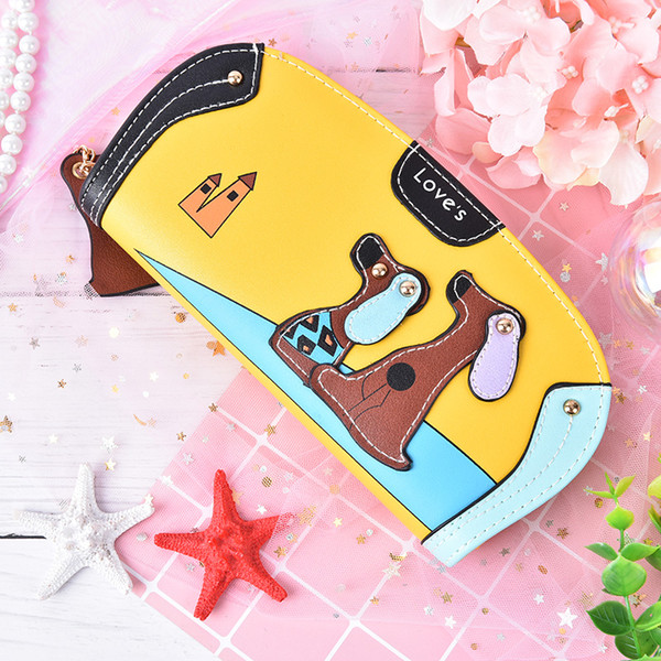 1PC Cute Long Wallet Women PU Leather Cartoon Dog Bag Lady Clutch Phone Case Puppy Zipper Card Holder Female Change Purses